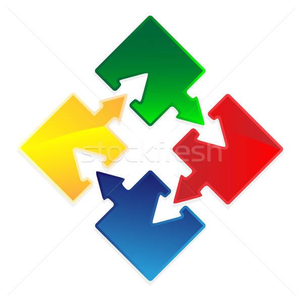 Puzzel pijl ingesteld pijlen succes vector Stockfoto © antkevyv