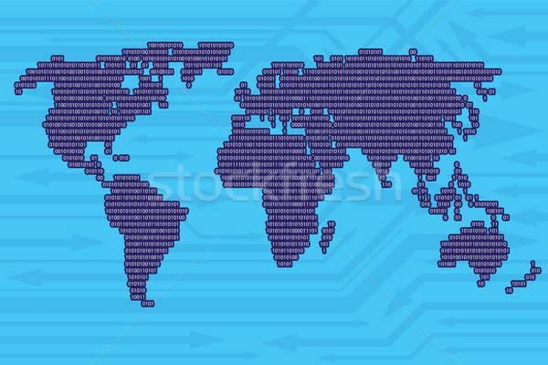 Digitale wereldkaart binaire code pijlen moderne informatie Stockfoto © antkevyv