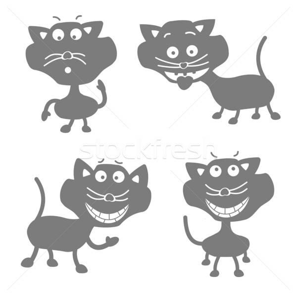 Grappig zwarte katten mascotte karakter Stockfoto © antkevyv
