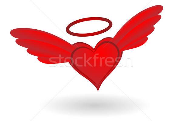 Cuore ali halo angelo rosso Foto d'archivio © antkevyv