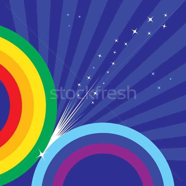 Regenboog sterren blauwe hemel abstract Stockfoto © antkevyv