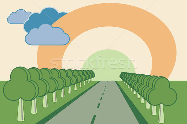 Weg bomen abstract steegje zon wolken Stockfoto © antkevyv
