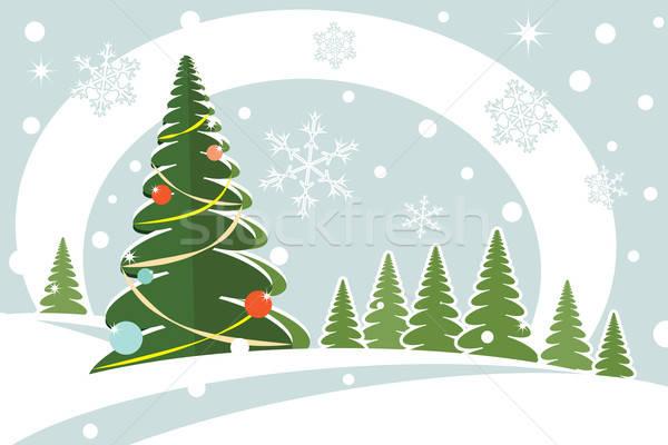 Christmas heuvels sneeuwvlok kaart boom bos Stockfoto © antkevyv