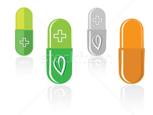 Stockfoto: Ingesteld · capsules · groen · blad · geïsoleerd · witte · groene