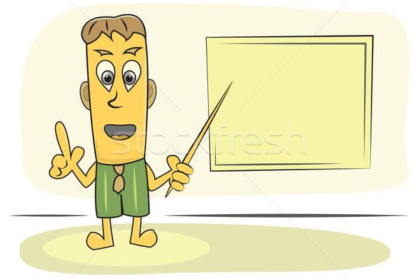 Tanár lecke rajzfilmfigura téma iskola tábla Stock fotó © antkevyv