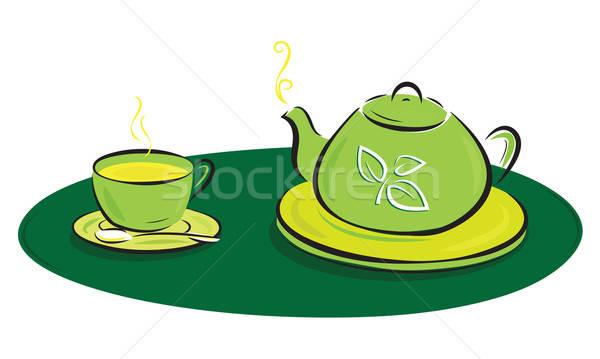 Tetera hojas símbolos taza ilustración alimentos Foto stock © antkevyv
