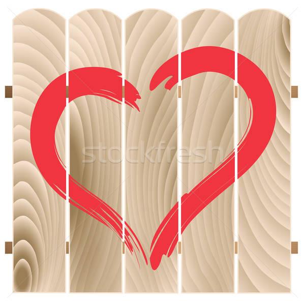 Stockfoto: Geschilderd · hart · houten · hek · abstract · liefde