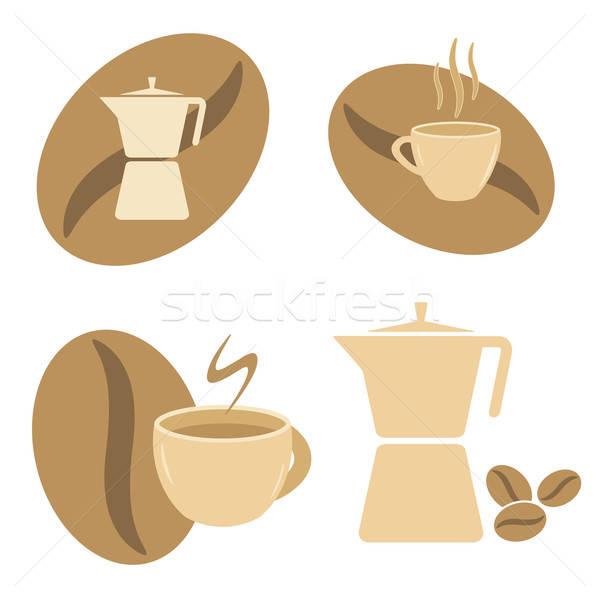 Stockfoto: Pot · koffiekopjes · bonen · symbolen · ingesteld · vector