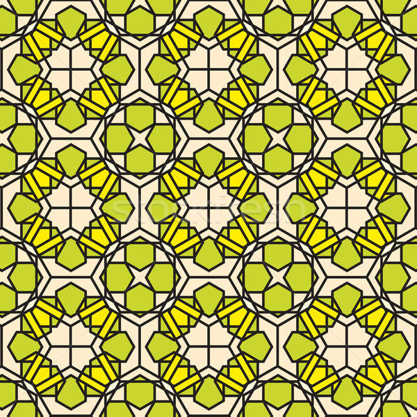 green mosaic stained glass pattern background Stock photo © antkevyv
