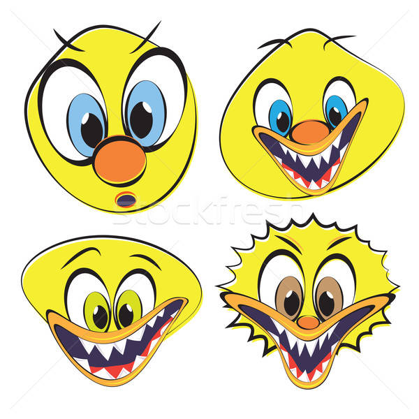 Set of funny and ugly smilies Stock photo © antkevyv