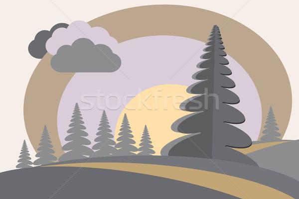 Heuvels zon wolk cartoon afbeelding wolken Stockfoto © antkevyv