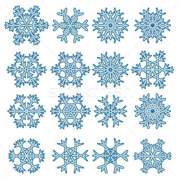 Ingesteld sneeuwvlokken geïsoleerd witte abstract sneeuw Stockfoto © antkevyv