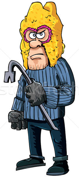 Criminal with a crowbar wearing a balaclava Stock photo © antonbrand