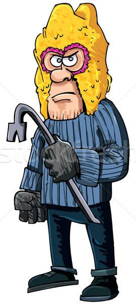 Verbrecher tragen isoliert weiß Gesicht Sicherheit Stock foto © antonbrand