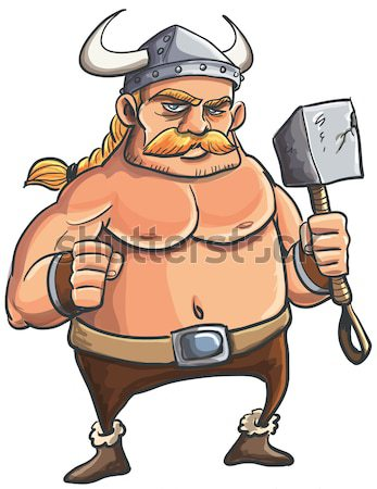 Cartoon viking with a big hammer Stock photo © antonbrand