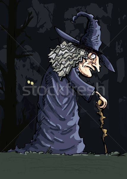 Dark creepy witch in the dark forest Stock photo © antonbrand