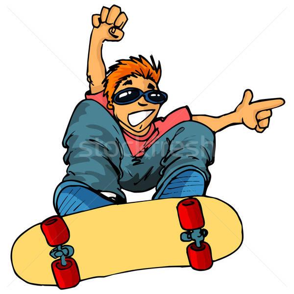 desenho animado criança andar de skate voador ar