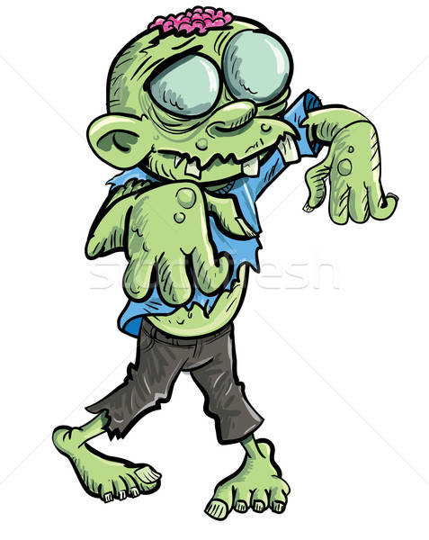 Cute green cartoon zombie. Stock photo © antonbrand
