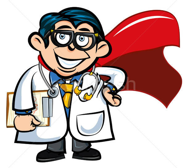 Karikatur Arzt isoliert weiß blau Stock foto © antonbrand
