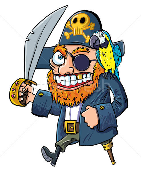 Cartoon pirate with a cutlass and parrot Stock photo © antonbrand