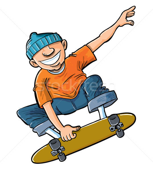 Cartoon of boy jumping on his skateboard. Stock photo © antonbrand