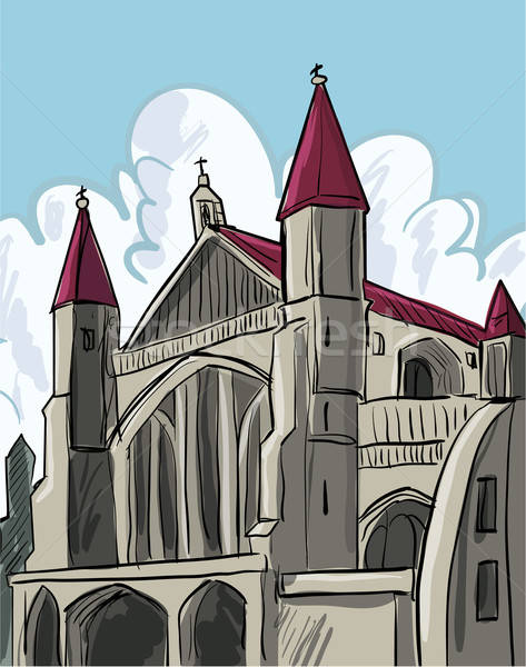 Cartoon of a medieval cathedral Stock photo © antonbrand