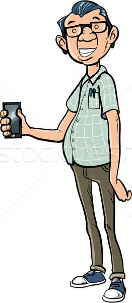 Tall cartoon nerd with a mobile phone Stock photo © antonbrand