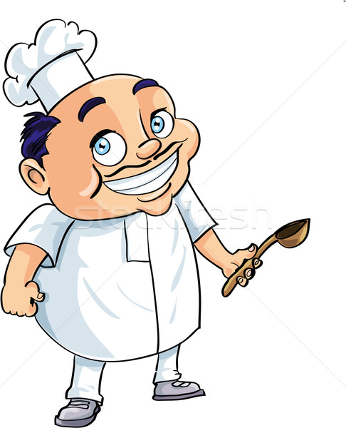 Cute cartoon chef holding a ladle Stock photo © antonbrand