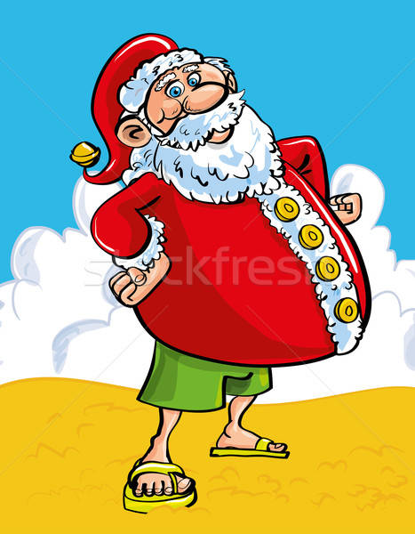 Cheerful Santa at the seaside Stock photo © antonbrand