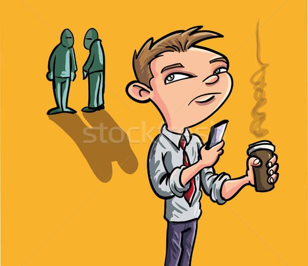 Cartoon man texting on smartphone Stock photo © antonbrand