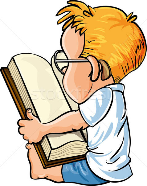 Cartoon little boy reading a big book Stock photo © antonbrand