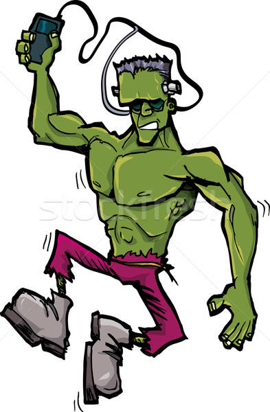 Cartoon Frankenstein monster with MP3 player Stock photo © antonbrand