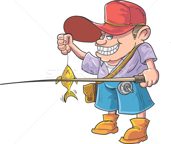 Cartoon pescador peces aislado hombre pesca Foto stock © antonbrand