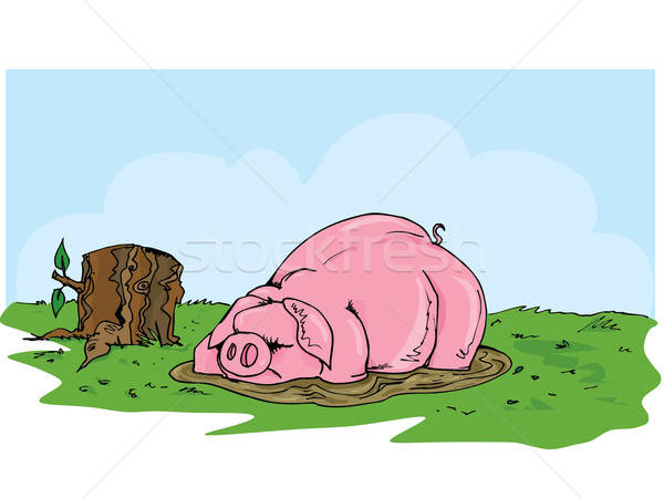 Cartoon pig wallowing in the mud Stock photo © antonbrand
