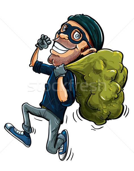 Cartoon thief running with a bag of stolen goods Stock photo © antonbrand