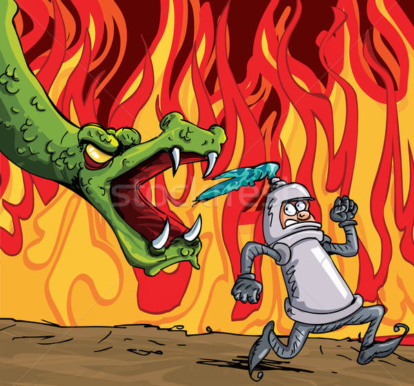 Cartoon of a knight running from a fierce dragon Stock photo © antonbrand