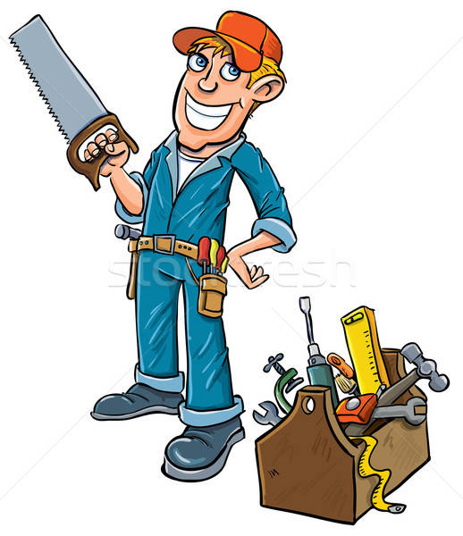 Cartoon handyman with toolbox. Stock photo © antonbrand