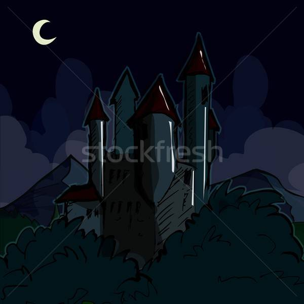 Creepy castle at night Stock photo © antonbrand