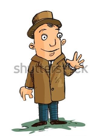 Karikatur Mann Mantel hat isoliert Stock foto © antonbrand