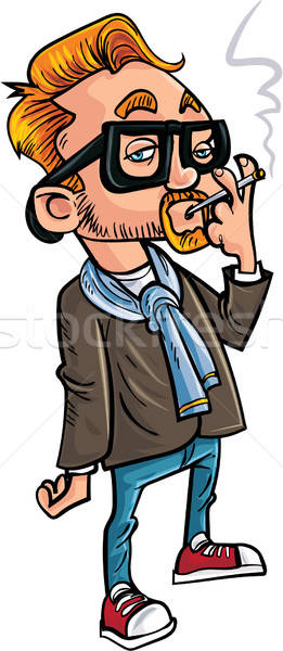 Cartoon hipster smoking a cigarette. Stock photo © antonbrand