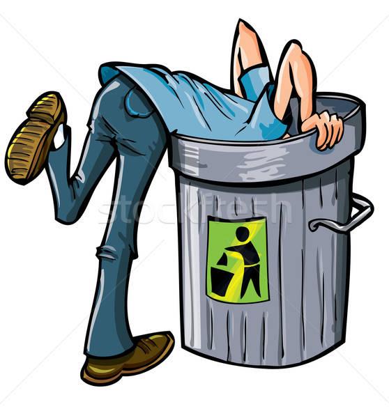 Człowiek patrząc głęboko pojemnik na śmieci mężczyzna śmieci Zdjęcia stock © antonbrand