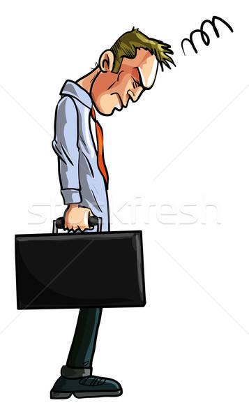 Powrót pracy cartoon ilustracja biznesmen cierpienie Zdjęcia stock © antonbrand