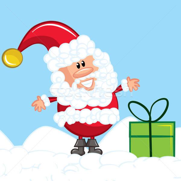 Karikatur weiß Bart Schnee Geschenk Stock foto © antonbrand
