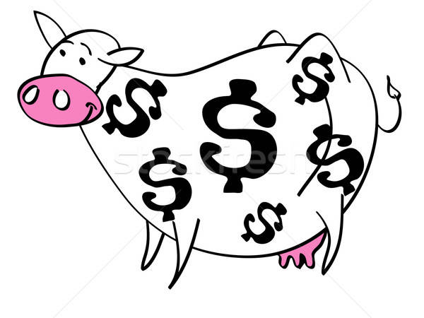 Cartoon of cash cow with dollar signs on her coat Stock photo © antonbrand
