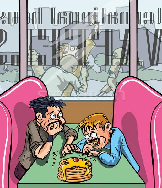 Persone mangiare qualcuno fuori shop Foto d'archivio © antonbrand