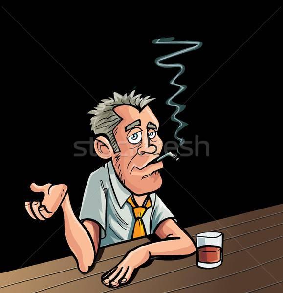 Cartoon fumeur séance bar boire homme Photo stock © antonbrand