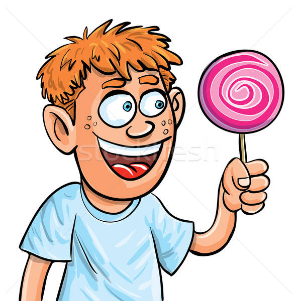 Cartoon boy eating lollypop. Isolated Stock photo © antonbrand