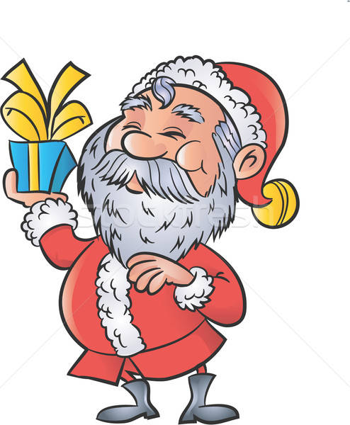 Cartoon Santa with a christmas gift Stock photo © antonbrand