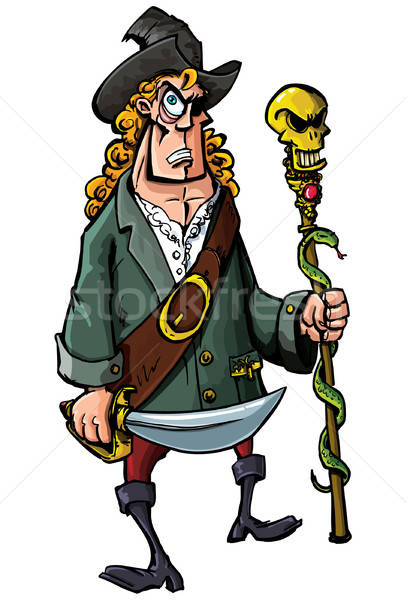 Cartoon pirate with a sword and staff Stock photo © antonbrand