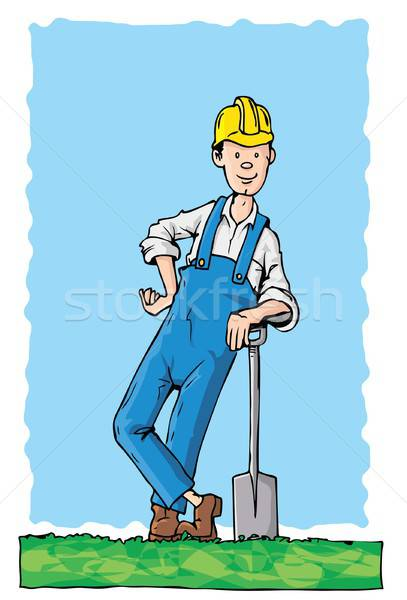 Cartoon worker with a spade Stock photo © antonbrand